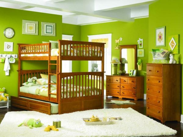 Wandfarbe in Grüntönen hochbett kommode