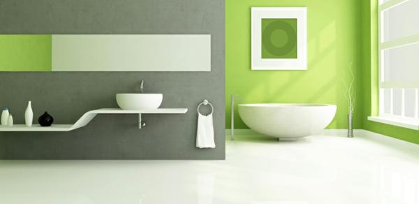 Wandfarbe badewanne Grüntöne minimalistisch bad