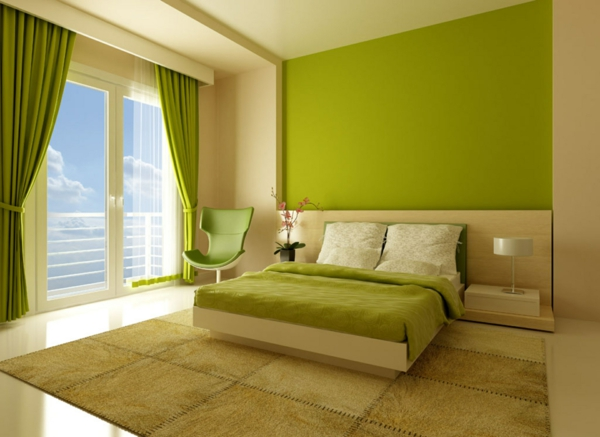 schlafzimmer wand gestalten farben bett grüntöne