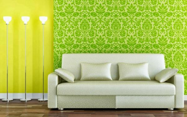 Wandfarbe in Grüntönen sofas muster