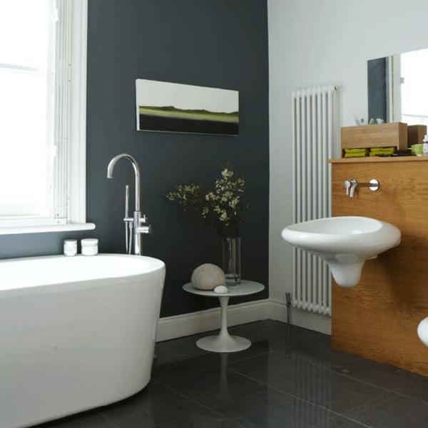 Wandfarbe waschbecken Grautönen farbgestaltung modern badewanne
