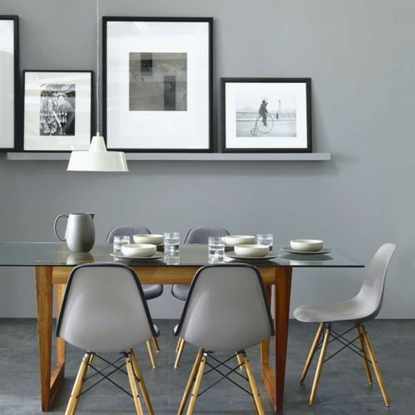 Wandfarbe Grautönen farbgestaltung modern esstisch stühle
