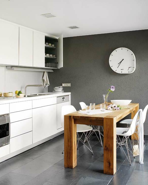 Wandfarbe in Grautönen farbgestaltung modern küche holztisch