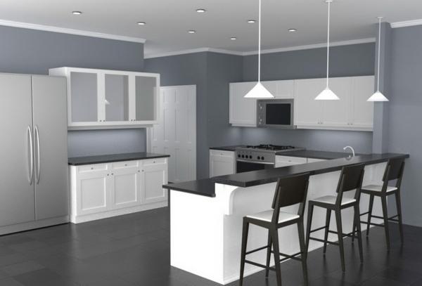 Wandfarbe Grau farbgestaltung modern kochinsel