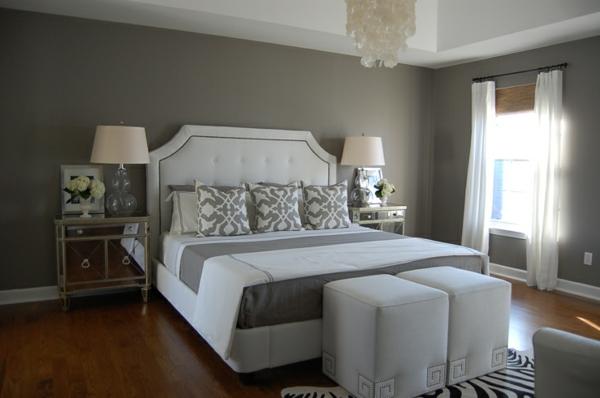 Wandfarbe  Grautöne farbgestaltung modern kopfteil