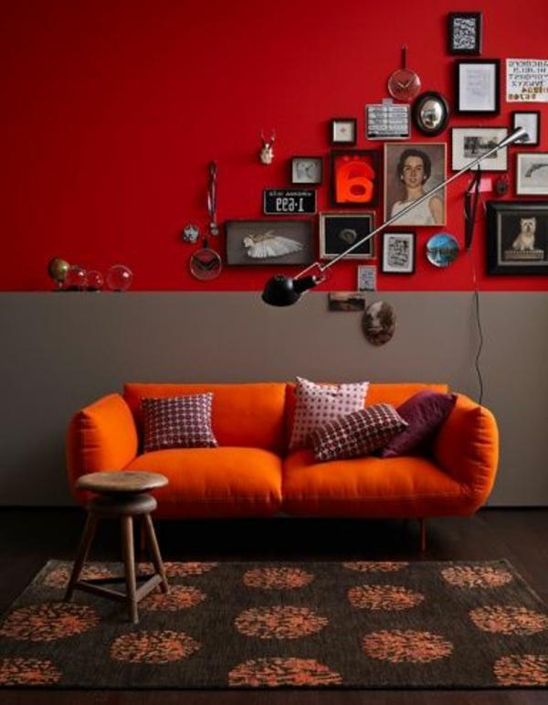 design : wandgestaltung wohnzimmer rot ~ inspirierende bilder von ... - Wandgestaltung Wohnzimmer Grau Rot