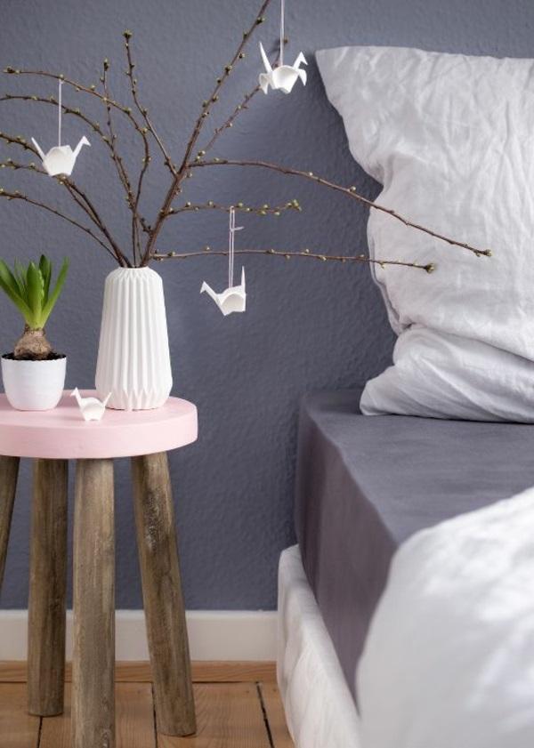 Wandfarbe in Grautönen farbgestaltung modern schlafzimmer bett