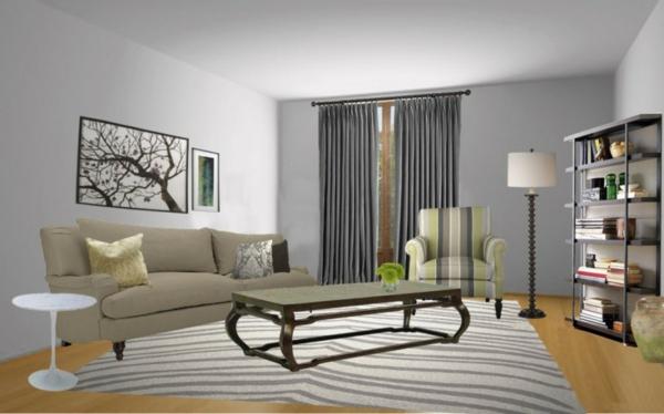 Wandfarbe virtuell Grautönen farbgestaltung modern wohnzimmer