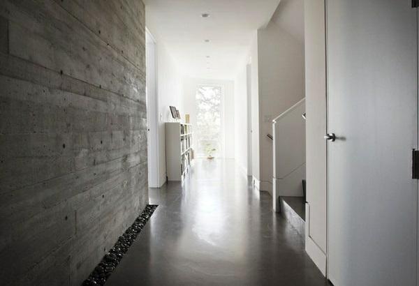 Wandgestaltung treppenhaus flur  Wandfarbe mit Betonoptik - Wände aus Beton