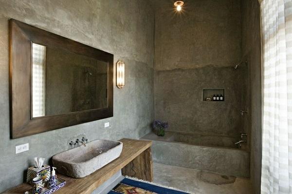 wandfarbe spiegel badezimmer rustikal betonoptik wandgestaltung grau - Bad Rustikal Gestalten