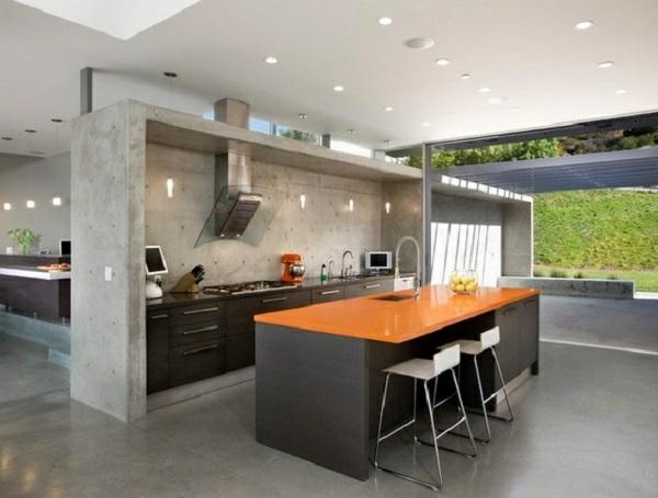 Wandfarbe Betonoptik wandgestaltung küche