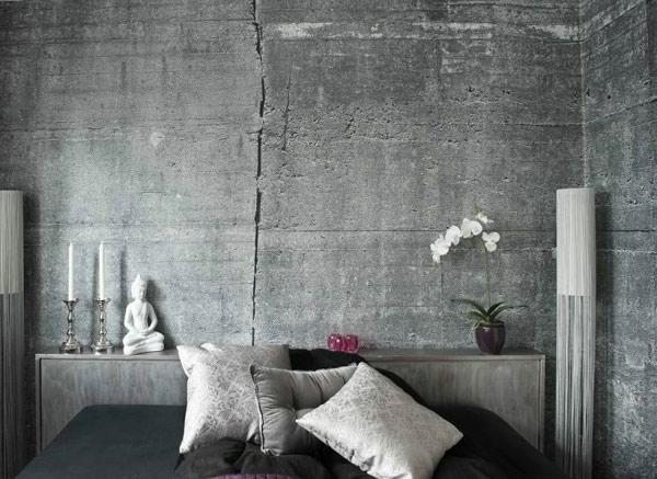 Wandgestaltung Tapete wandfarbe mit betonoptik wände aus beton