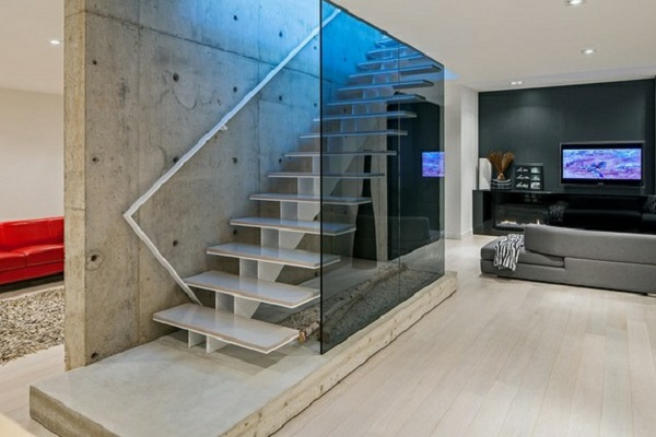 Wandfarbe Mit Betonoptik Wandgestaltung Treppe