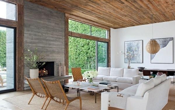Wandfarbe Betonoptik Wandgestaltung Wohnzimmer