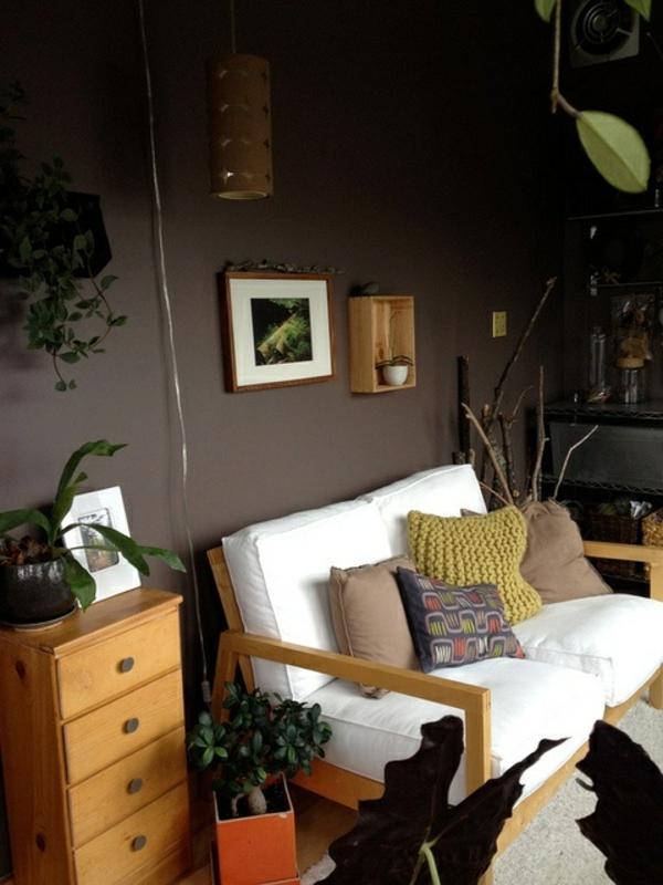 Wandfarben Brauntöne wandfarben ideen sofa
