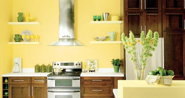 Wandgestaltung wandregale Küche gelb