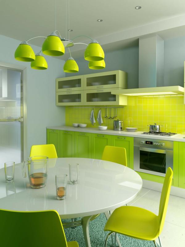 Wandgestaltung für die Küche grün hell dunkel