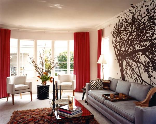 Wohnzimmer gardinen gemütlich gestaltung fenster