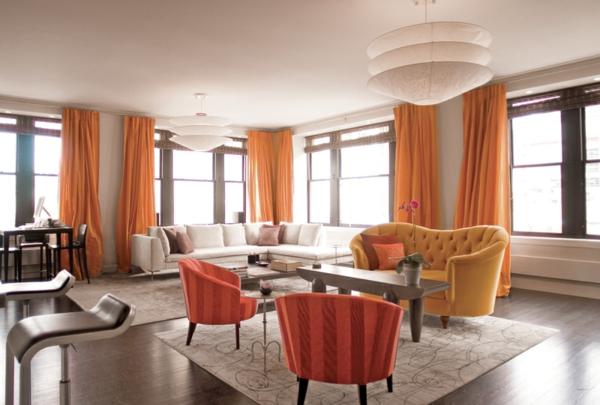 Wohnzimmergardinen und vorh nge richtig ausw hlen - Wandfarbe leuchtend ...