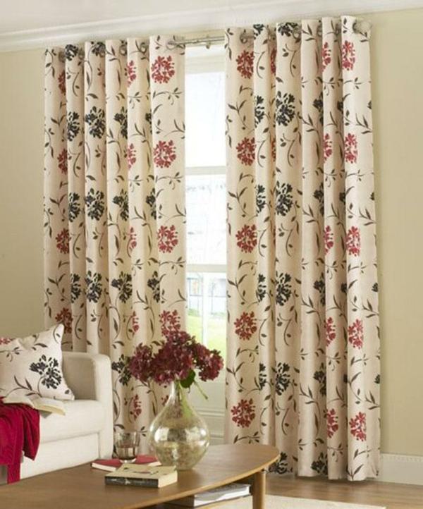 Wohnzimmergardinen Muster Blumen Klein Zimmer