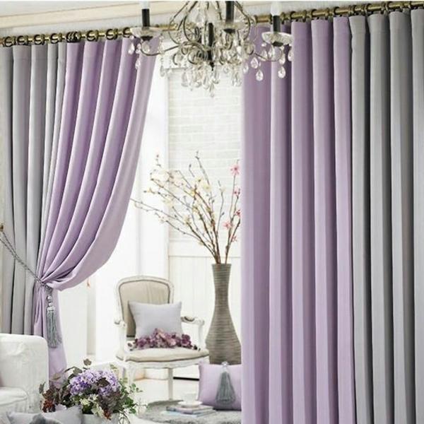 Wohnzimmer gardinen niedlich farben violett