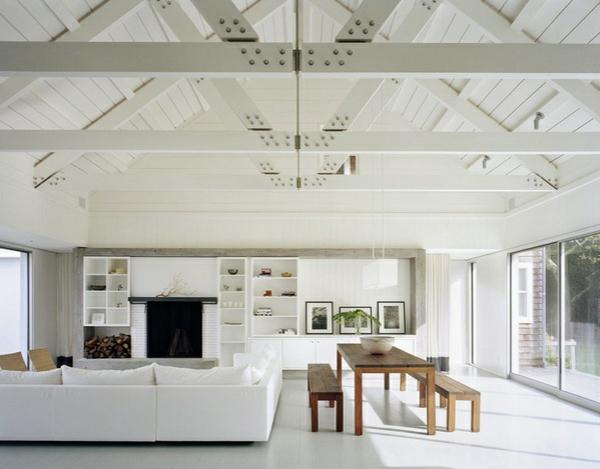 architektenhaus wohmzimmer design zimmerdecke hoch gewölbt
