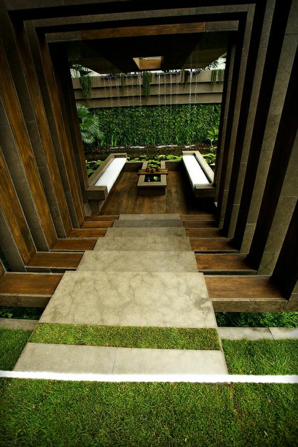 außenarchitektur moderne gartengestaltung stufenförmig