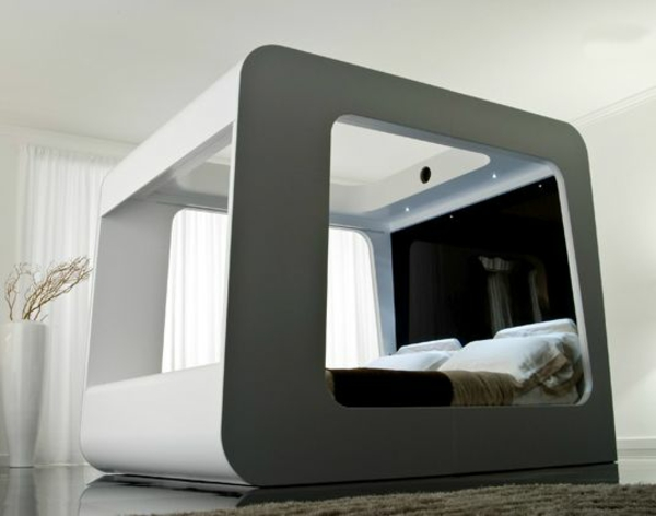 außergewöhnliche betten designideen schwarz weiß schlafzimmer