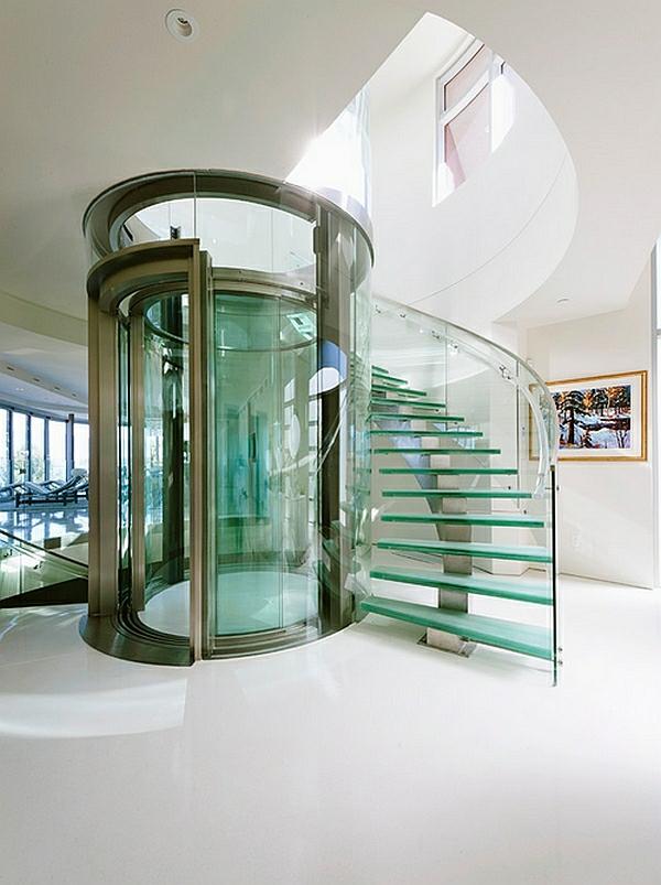 aufzug treppenhaus glas korridor design ideen