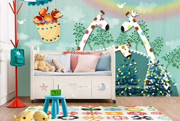babyzimmer kinderbett wandtattoos wandgestaltung waldtieren giraffen