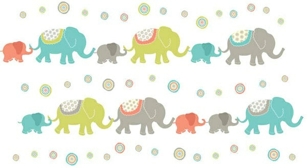 babyzimmer wandgestaltung farbige wandtattoos elefanten
