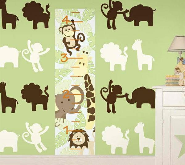 babyzimmer wandgestaltung wandtattoos waldtieren elefanten affen giraffen löwen