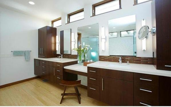 badezimmer design flache bad schränke aus holz spiegel