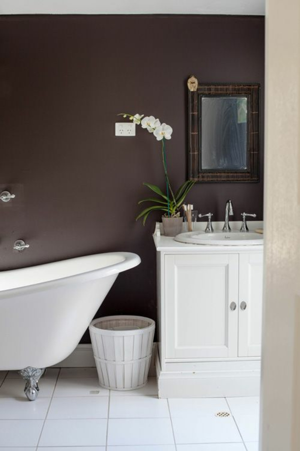 badezimmer designideen wandfarbe brauntöne