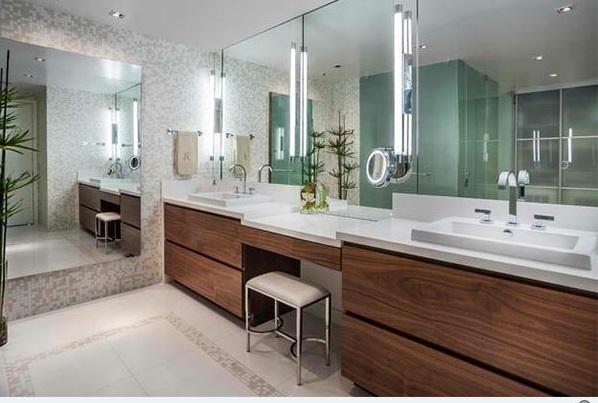 badezimmer ideen flache bad schränke spiegel waschbecken