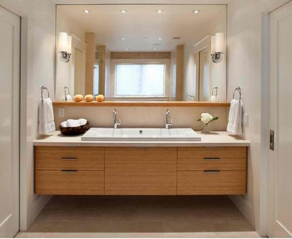 badezimmer ideen flache bad schränke spiegel