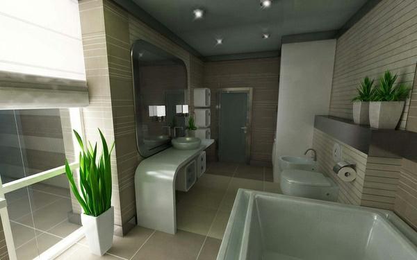 badezimmer ideen modern dekoration pflanzen