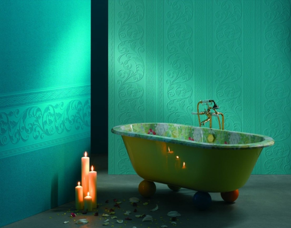 badezimmer wandfarbe lagune freistehende badewanne