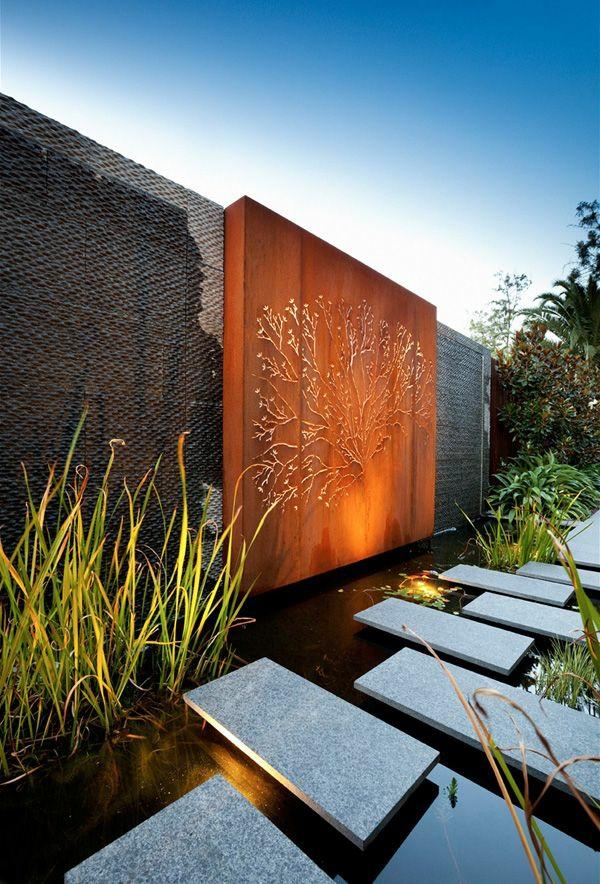 Beispiele Für Moderne Gartengestaltung Steinplatten Holz Deokration