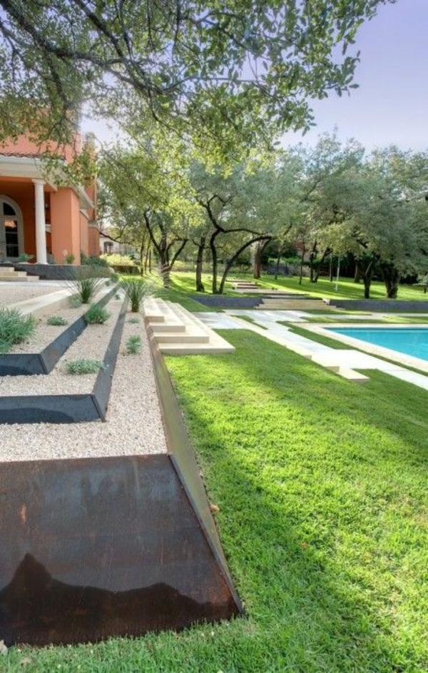 beispiele für moderne gartengestaltung stufenförmig pool