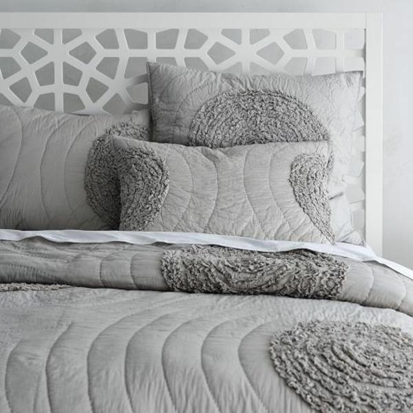 bett kopfteil design ideen grau weiß