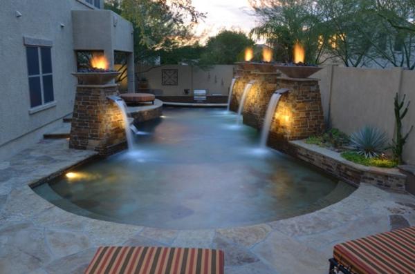 bilder pool garden schwimmbecken ideen licht