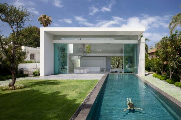 pool garden schwimmbecken ideen weiß fassade