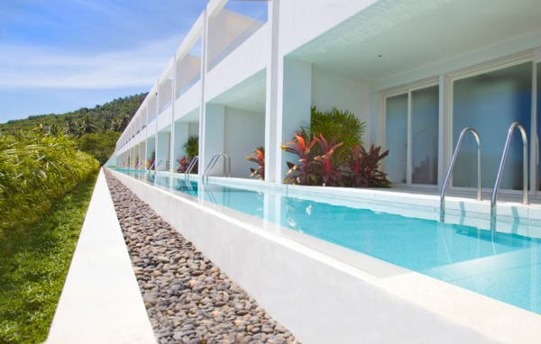 ultra modern sommerhaus pool im garten weiß