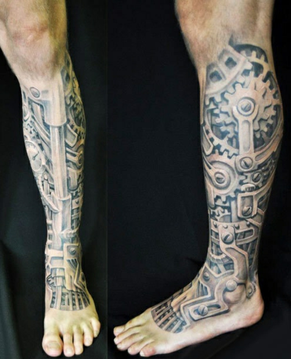 tattoo bein tattoos ideen unrterbein biomechanik