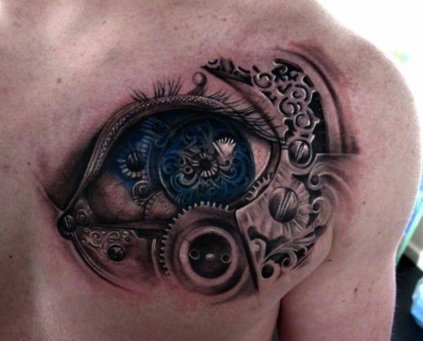 biomechanik tattoo männer rücken auge blau