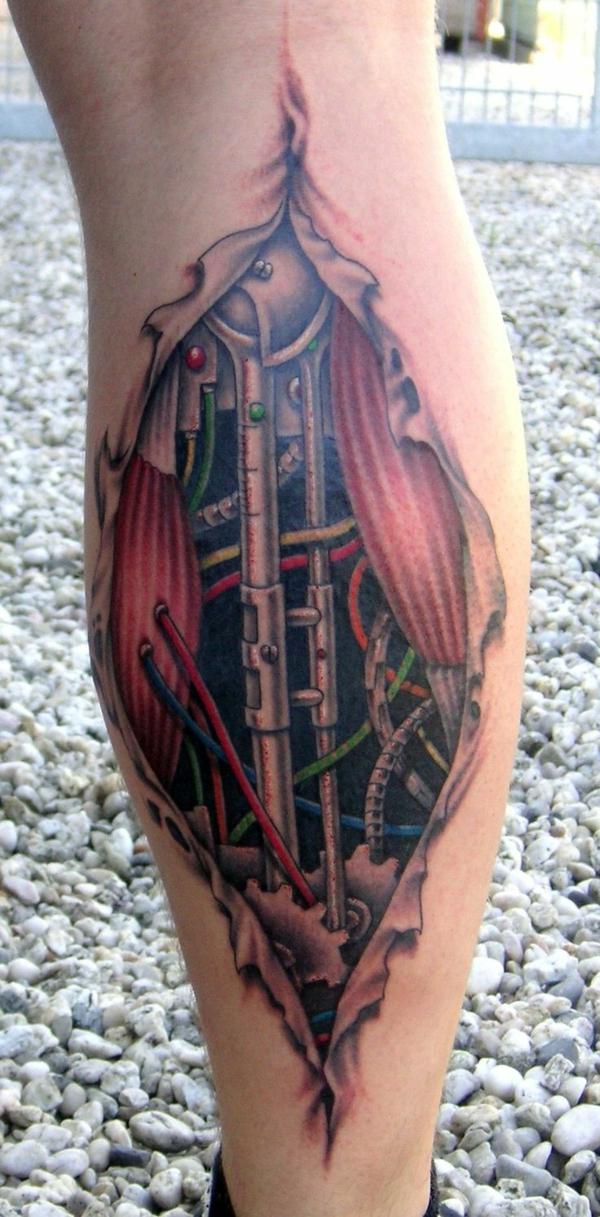 tattoos biomechanische elemente unterbein ideen