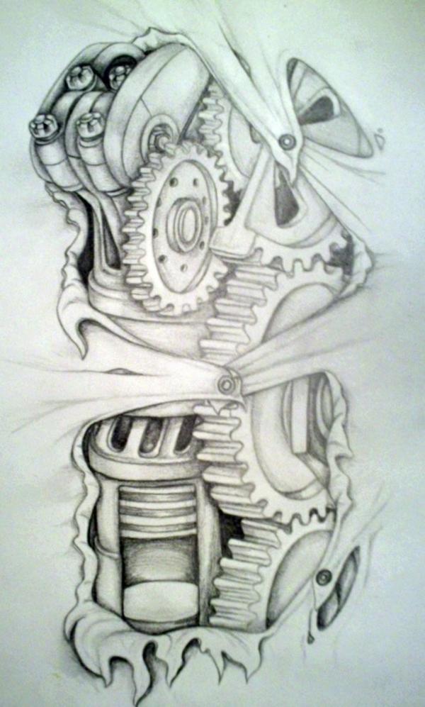 tattoos biomechanik vorlage ideen