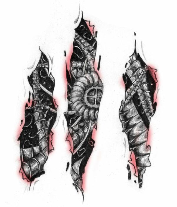biomechanische tattoos vorlagen skizziert