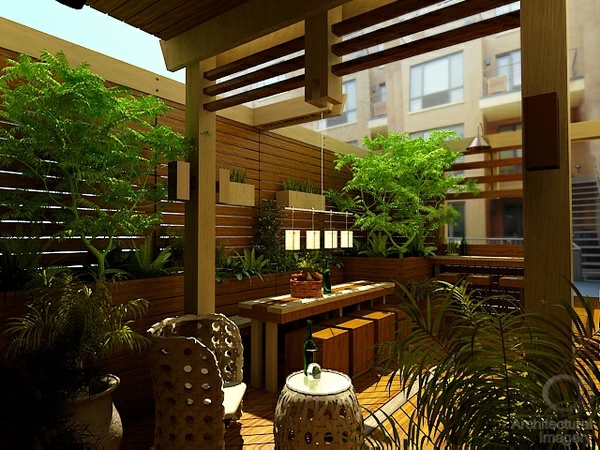 dachterrasse gestalten ideen holz terrassendielen rattanmöbel essbereich